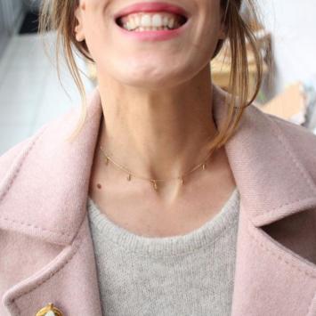 bijoux collier goutte pampilles plaqué or tendance intemporel