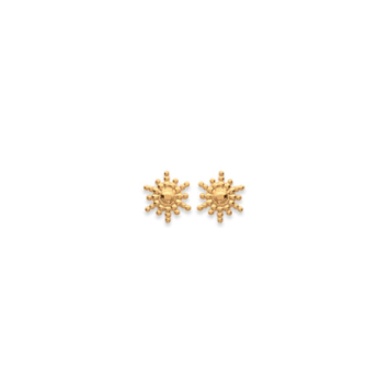 petites boules d'oreilles soleil plaqué or bohème chic bijou tendance