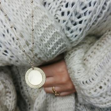 bijou tendance de créateur fait main chaine plaqué or collier sautoir maille boule médaille soleil