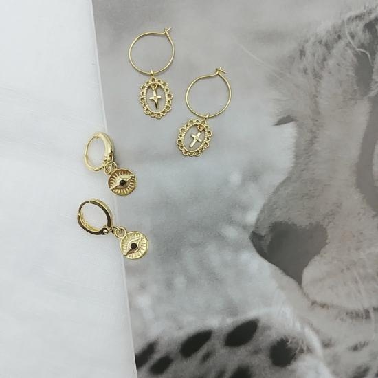 petites mini baby créoles plaqué or oeil croix bijoux tendance bohème chic