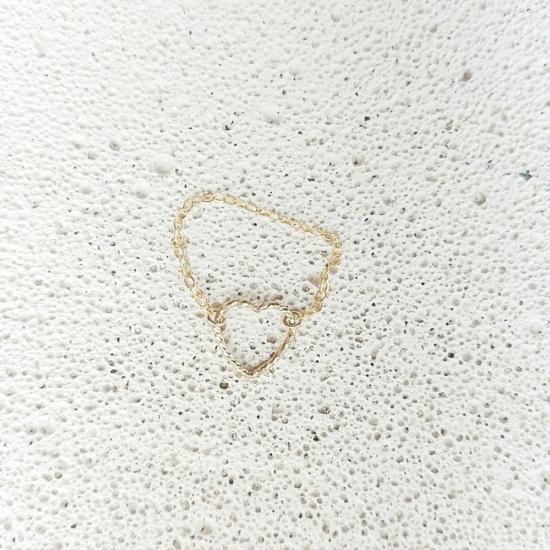 bijou tendance de créateur fait main bague chaine coeur plaqué or