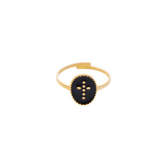 bague ajustable acier inoxydable doré email noir croix