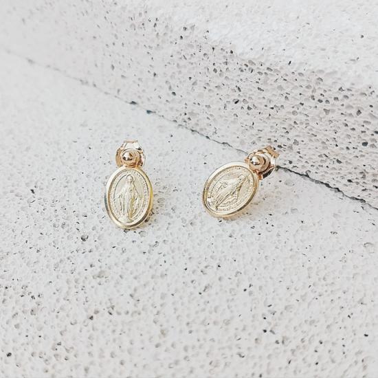 bijoux boucles d'oreilles puce medaille miraculeuse sainte vierge marie plaqué or