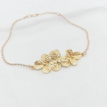 bijou tendance bohème plaqué or bracelet bille fleurs