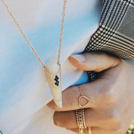 bijou tendance de créateur fait main bague chaine coeur plaqué or collier corne os cristal swarovski bague coeur
