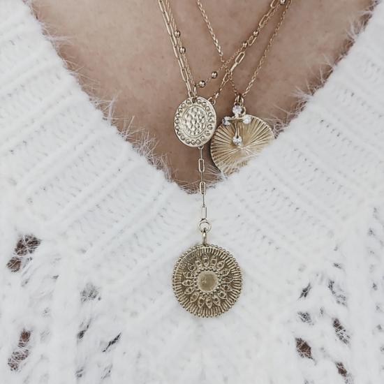 bijou tendance bohème collier plaqué or médaille soleil ethnique porté collier cravate médaille porté