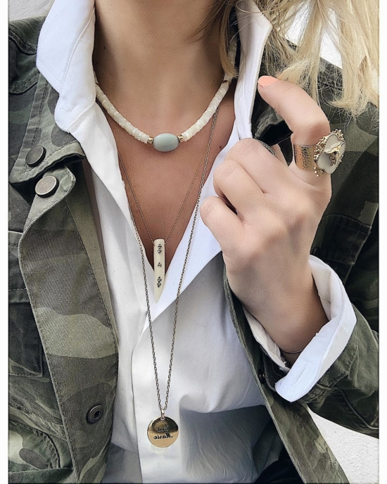 bijou tendance de créateur fait main plaqué or collier corne os cristal swarovski instagram look trendyemma