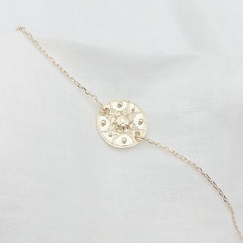 bijou tendance bohème plaqué or bracelet médaille soleil ethnique