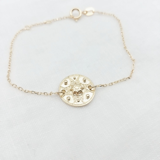 bijou tendance bohème plaqué or bracelet médaille soleil ethnique entier
