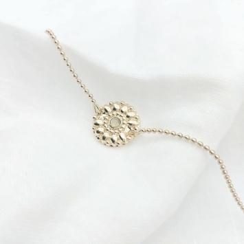 bijou tendance bohème plaqué or bracelet bille médaille soleil pierre gemme semi précieuse pierre de lune