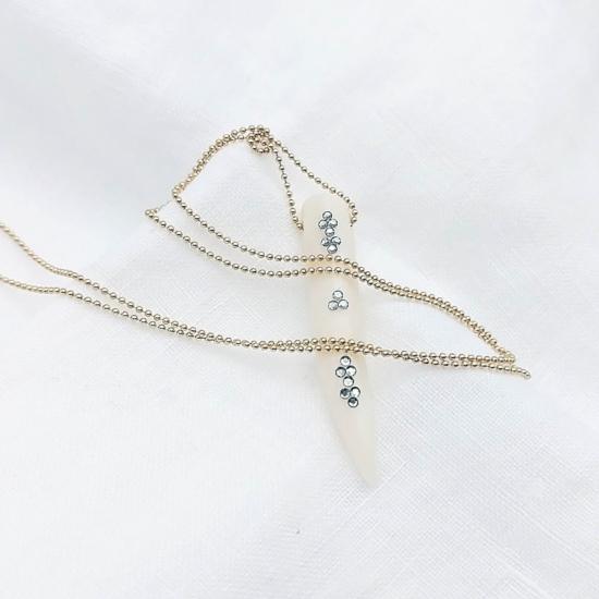 bijou tendance de créateur fait main plaqué or collier corne os cristal swarovski l
