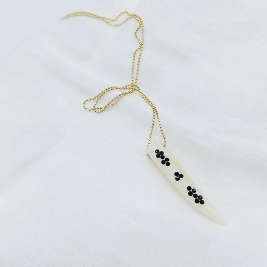 bijou tendance de créateur fait main plaqué or collier corne os cristal swarovski noir