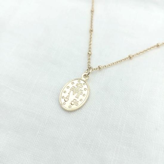bijoux tendance bohème collier médaille miraculeuse sainte vierge marie plaqué or maille boule verso