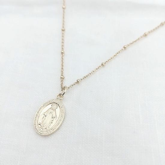 bijoux tendance bohème collier médaille miraculeuse sainte vierge marie plaqué or maille boule recto