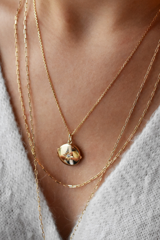 collier long sautoir plaqué or médaille médaillon photo étoile bijoux tendance gilet