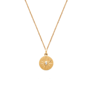 bijou tendance bohème collier plaqué or médaille soleil brillant zircon