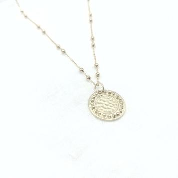 bijou tendance bohème collier plaqué or médaille soleil brillant chaine maille boules