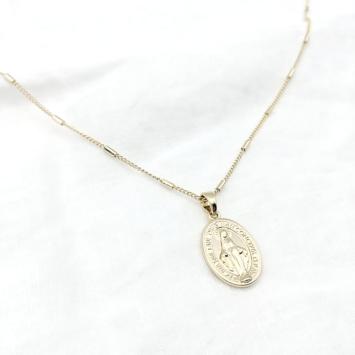bijoux tendance bohème collier médaille miraculeuse sainte vierge marie plaqué or face