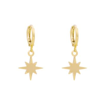 bijoux boucles d'oreilles plaqué or petites créoles galaxie étoile scintillante