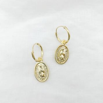 bijoux tendance bohème médaille miraculeuse sainte vierge marie plaqué boucles d'oreilles petites créoles