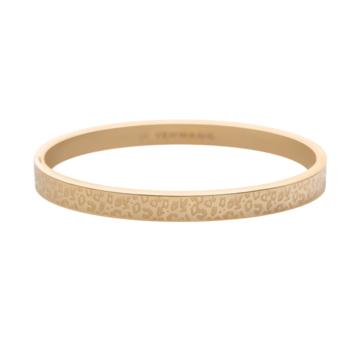 bijoux tendance bracelet jonc doré imprimé léopard animal acier inoxydable