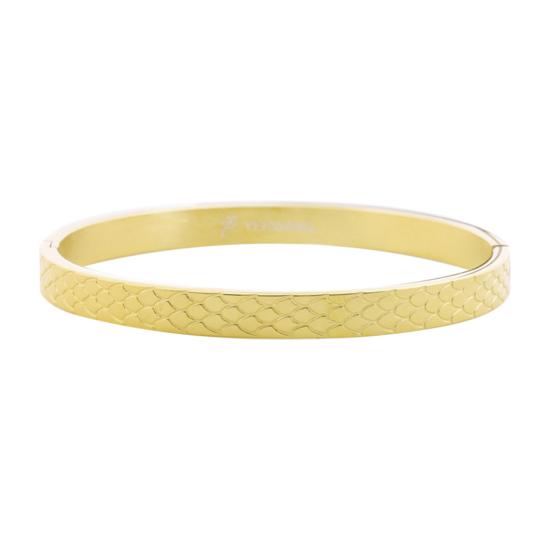 bijoux tendance bracelet jonc doré imprimé serpent animal acier inoxydable