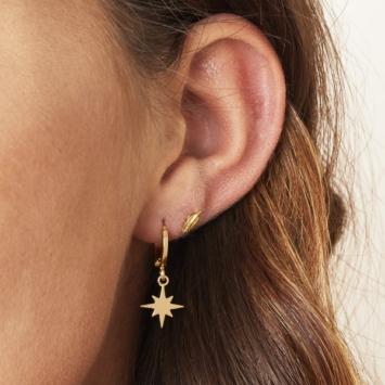bijoux petites boucles d'oreilles créoles étoile scintillante or