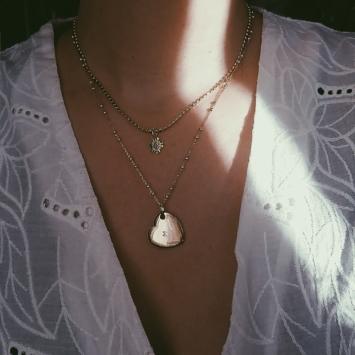bijoux créateur collier plaqué or coeur soleil