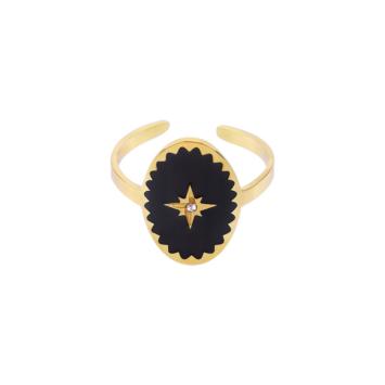 bague ajustable acier inoxydable doré email noir étoile