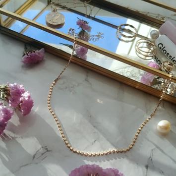 bijou tendance bohème collier plaqué or perles carrées intemporel
