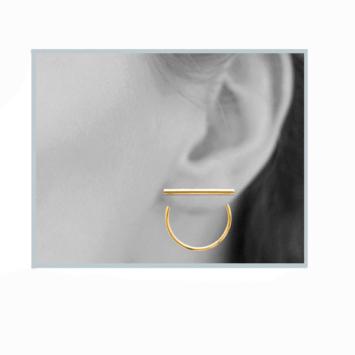 bijoux boucles d'oreilles plaqué or puce contour d'oreilles dessous de lobe creole géometrique barre porté look