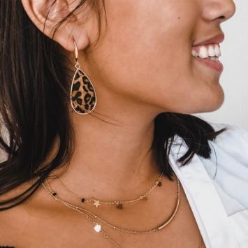 bijoux tendance boucles d'oreilles imprimé léopard fausse fourrure porté