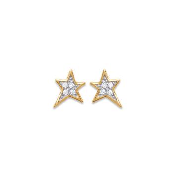 bijoux boucles d'oreilles plaqué or puce simple etoile galaxie strass zircons
