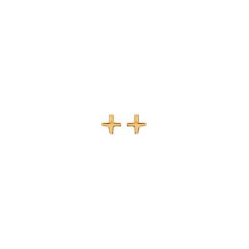 bijoux boucles d'oreilles plaqué or puce simple intemporel minimaliste signe plus multiplié croix