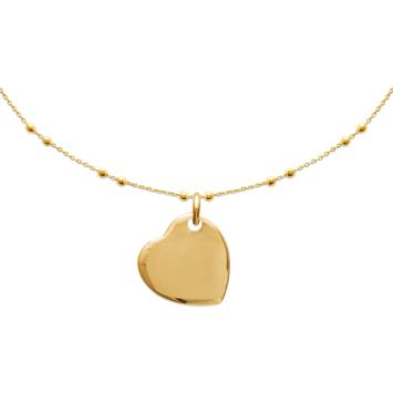 bijoux tendance collier 45 cm plaqué or médaille coeur
