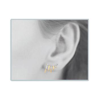 bijoux boucles d'oreilles plaqué or puce contour d'oreilles rock strass porté look rock