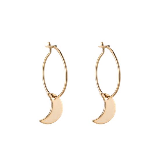bijoux boucles d'oreilles plaqué or petites créoles galaxie lune