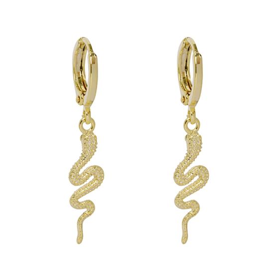 bijoux boucles d'oreilles plaqué or petites créoles serpent animal