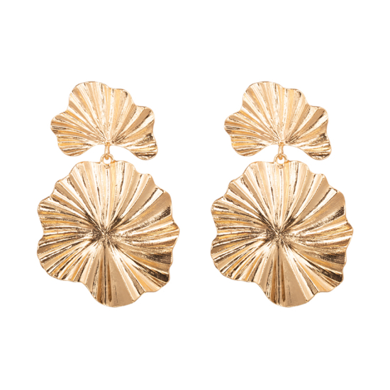 tendance bijoux grosses boucles d'oreilles dorées forme ronde organique fleur