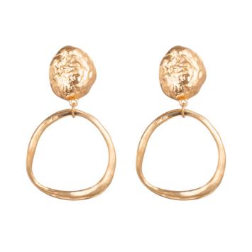 tendance bijoux grosses boucles d'oreilles dorées forme ronde organique