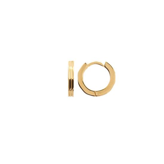 bijoux boucles d'oreilles plaqué or petites créoles épaisse diamantée 10 mm simple