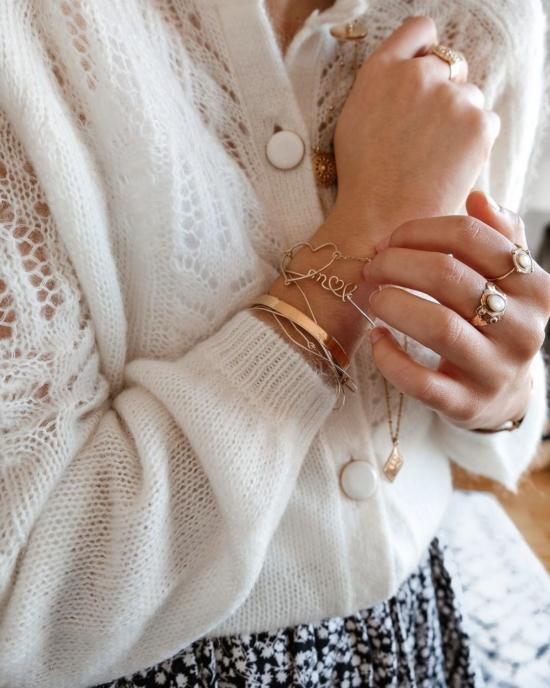 bijoux créateur tendance bracelet coeur bohème 7 bracelet jonc semainier plaqué or perle pyrite fin pierre gemme intemporel look instagram manon mgch_