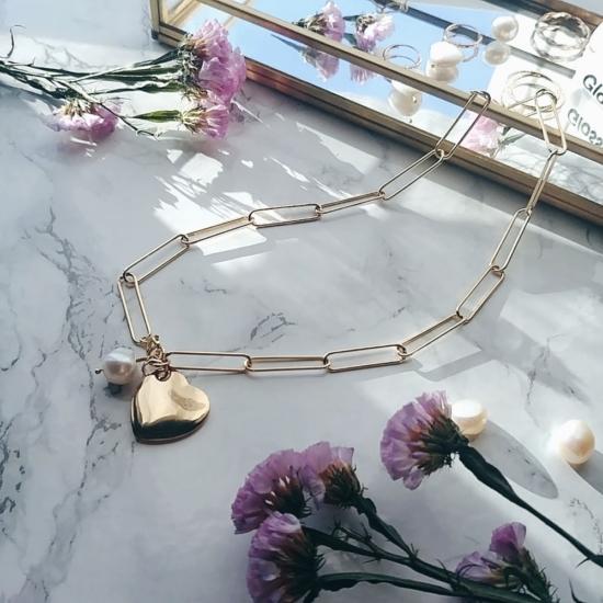 bijoux créateur bracelet gros maillons xl coeur perle