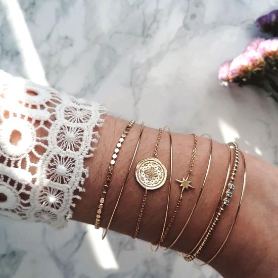 bijoux créateur tendance pièce antique bohème 7 bracelet jonc semainier plaqué or étoile