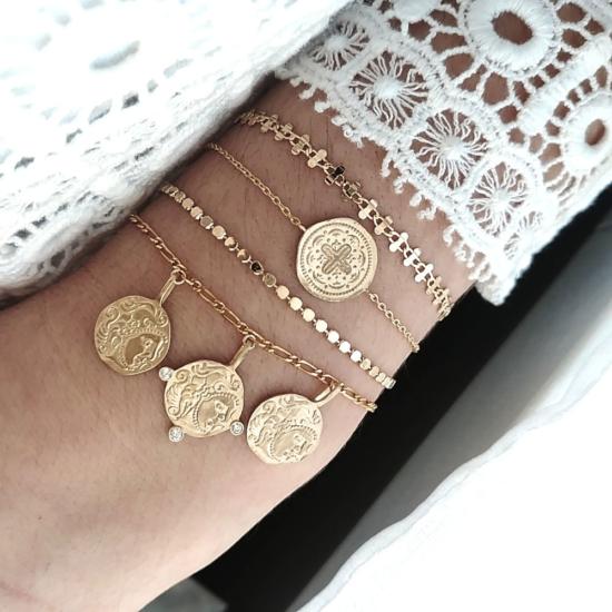 bijoux créateur tendance bohème 7 bracelet jonc semainier plaqué or pièce antique