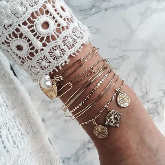 bijoux créateur tendance bohème 7 bracelet jonc semainier plaqué or perle maille xl coeur