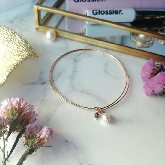 bijoux créateur tendance bohème bracelet jonc semainier plaqué or perle pyrite fin pierre gemme intemporel