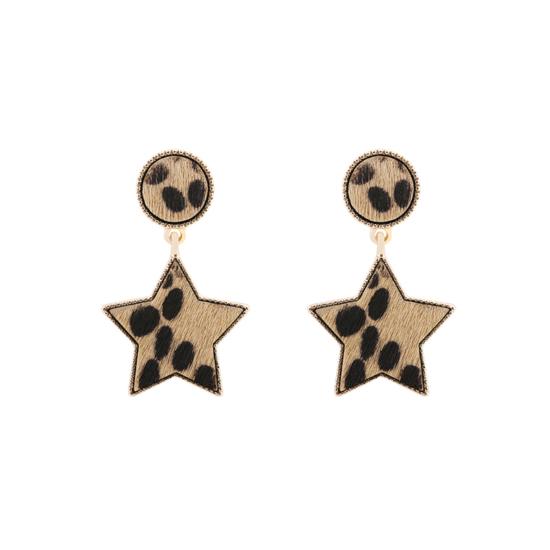 bijoux tendance boucles d'oreilles imprimé léopard fausse fourrure étoile