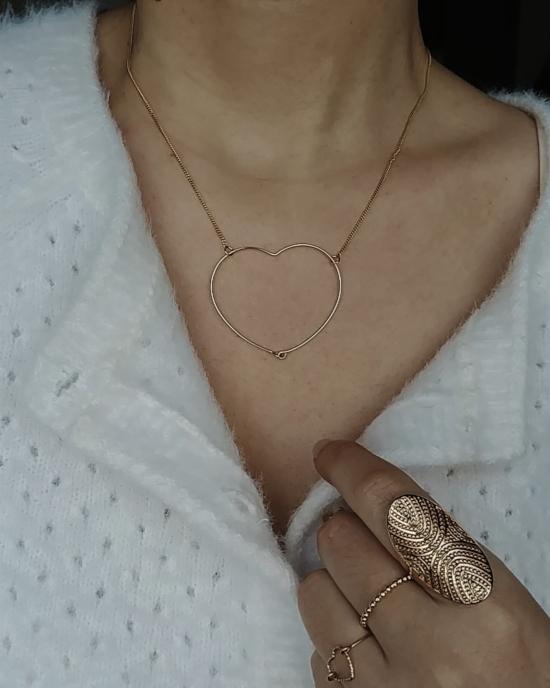 bijoux tendance collier grand coeur taille moyen fil plaqué or fait main créateur france