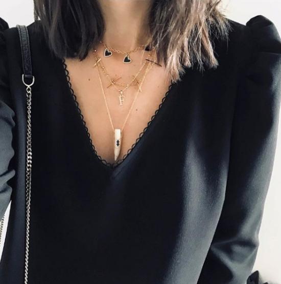 bijou tendance de créateur fait main plaqué or collier corne os cristal look instagram flavie